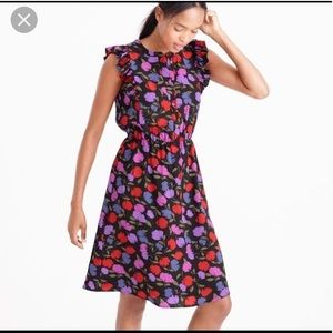 J Crew Floral silk Falling Painted Pansy Dress